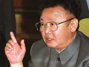 North Korean leader Kim Jong-il gestures during a summit in Pyongyang, North Korea.