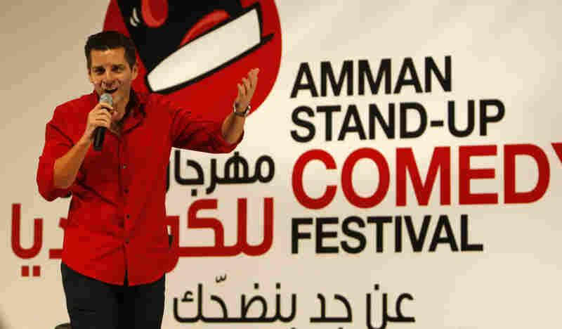 Arab-American comedian Dean Obeidellah performs in Amman, Jordan, in 2009