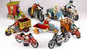 A large collection of 20th century motorcycle toys, valued between $4,000 and $6,000.