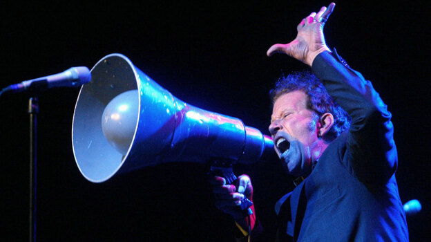 Tom Waits onstage in 2004, six years into his eligibility for induction into the Rock and Roll Hall of Fame.  (Getty Images)