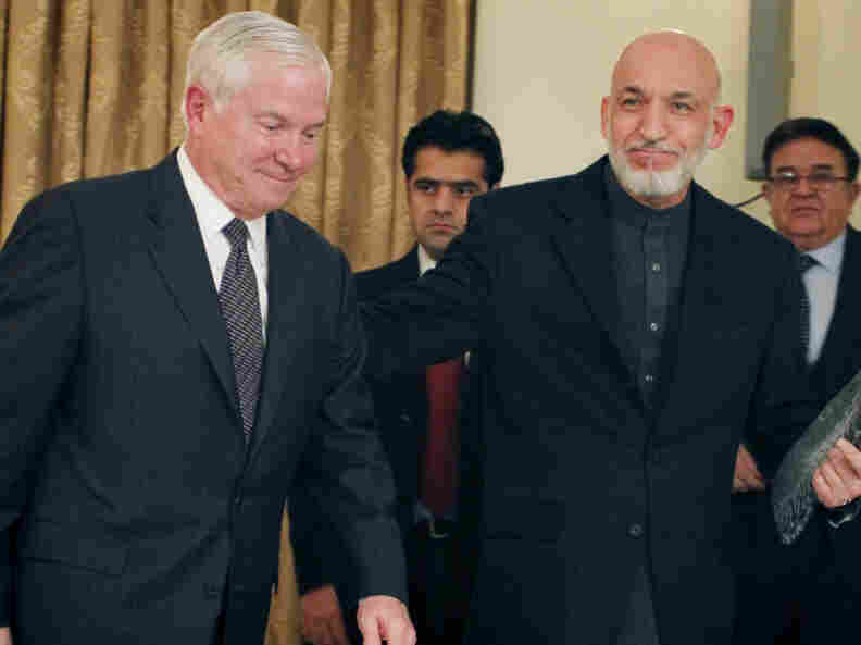 Defense Secretary Robert Gates (left) and Afghan President Hamid Karzai this month in Kabul.
