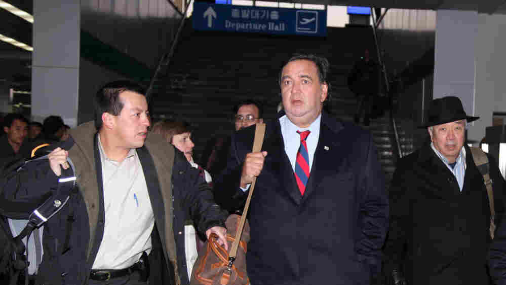 Gov. Bill Richardson arrives for a visit in Pyongyang, North Korea.