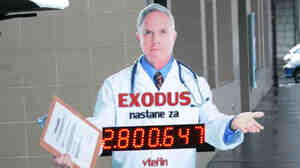 """A cardboard cut-out that reads """"countdown to exodus"""" alerts Czechs that some doctors may be leaving for better jobs elsewhere."""