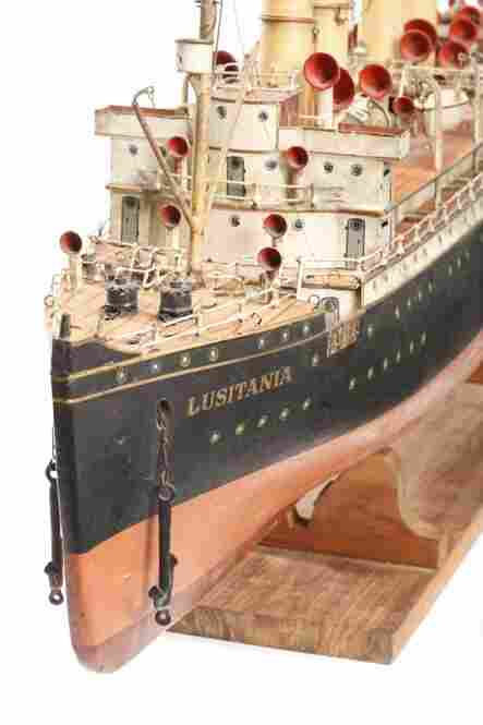 "Marklin recreated the Cunard Line's ""Lusitania"" ocean liner, which was sunk in 1915 by a German submarine, precipitating America's entry into World War I. It was purchased by Malcolm Forbes for $28,600 at Sotheby's New York in 1983, setting a record at the time for the highest price ever paid for a toy boat."