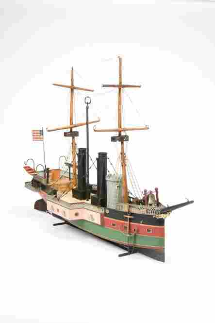 This boat is an early and pristine example of its kind. The delicacy of its styling, hand-painting and detailing would soon give way to mass-produced ships. But it was toys like this that gave Marklin its worldwide reputation as one of the best toy manufacturers. Estimated value between 150,000 and 250,000 dollars