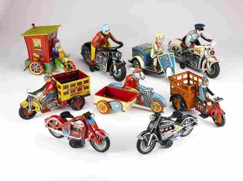 Large collection of 20th-century motorcycle toys, valued between 4,000 and 6,000 dollars.