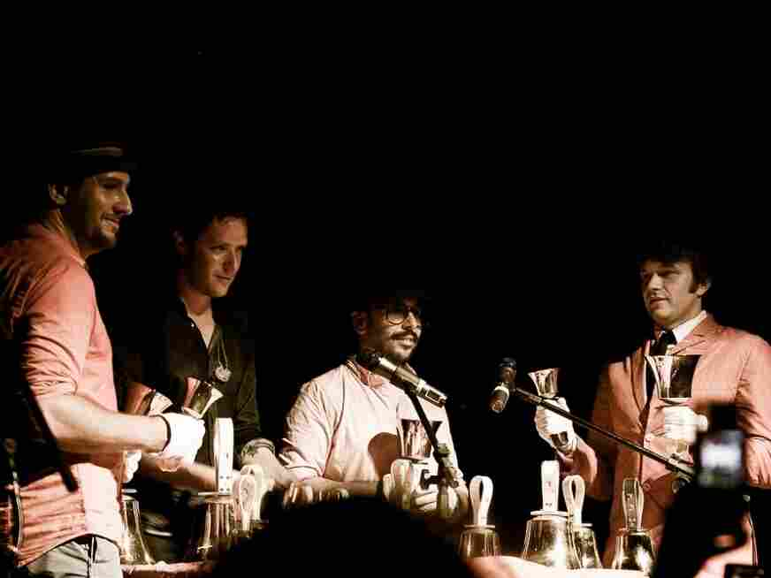 """Viral video veterans Ok Go perform """"What to Do"""" -- with the use of only bells -- at Estudio Emme in Sao Paolo, Brazil."""