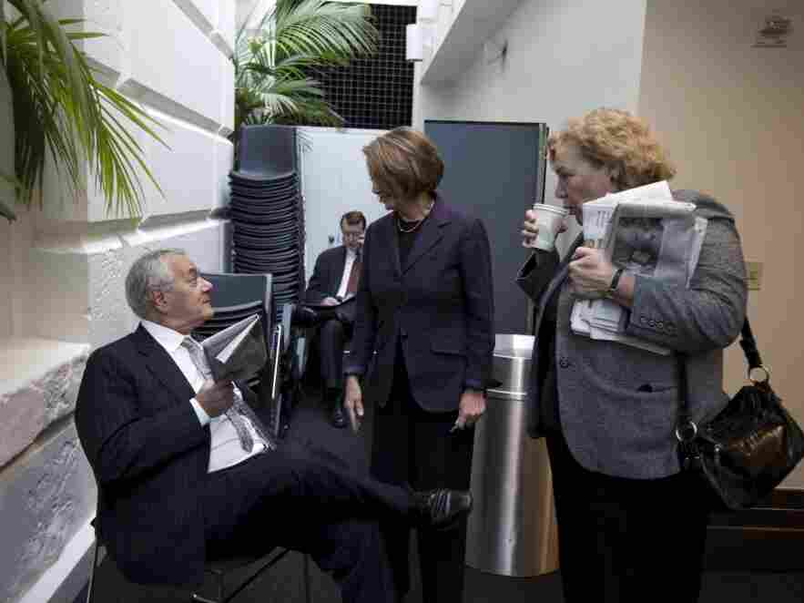 Speaker Nancy Pelosi with fellow Democratic Representatives Barney Frank of Massachusetts and Zoe Lofgren of California, Dec. 16, 2010.