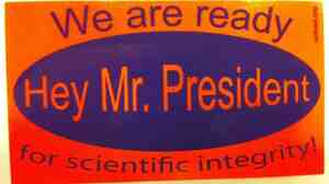 The sticker distributed by the Union of Concerned Scientists in San Francisco this week.