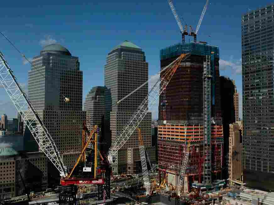 The steel skeleton of 1 World Trade Center rises above Ground Zero last week as it neared the halfway point in its construction.