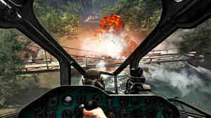 In this video game image from Call of Duty: Black Ops, special forces agents pilot a gunship up the Mekong River.