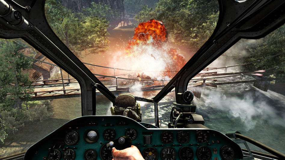 In this video game image from <em>Call of Duty: Black Ops</em>, special forces agents pilot a gunship up the Mekong River. Scientists say immersion games like this one may develop certain parts of kids' brains.