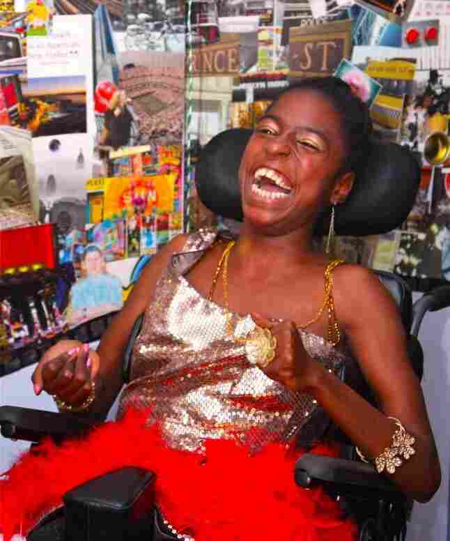 Keosha Stukes, 20, of South Bronx, N.Y., chose a Times Square/Broadway theme for her Blissful Bedroom redesign. Stukes, who has cerebral palsy, will graduate from high school in June.