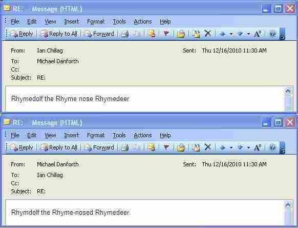 Screencap of emails.