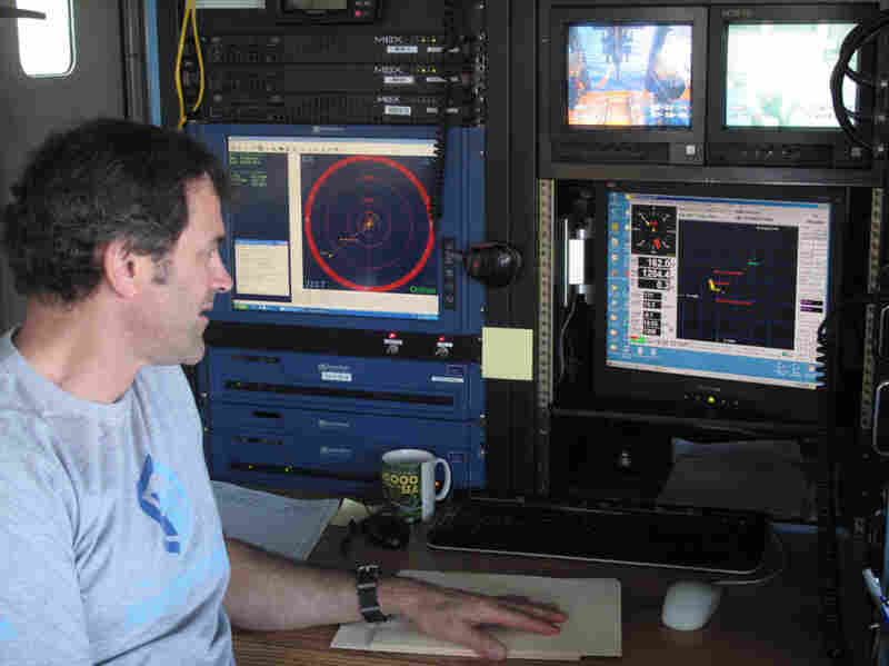Bruce Strickrott manages Alvin's operations aboard the sub's mother ship, the Atlantis.