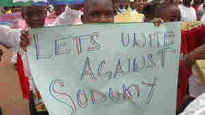 Thousands of children  demonstrated against homosexuality in Uganda's capital city Kampala, on Jan. 22, 2010. The Anti-Homosexuality Bill being considered by the Ugandan Parliament would increase penalties for homosexual conduct and  criminalize many related activities, such as the promotion of homosexuality.
