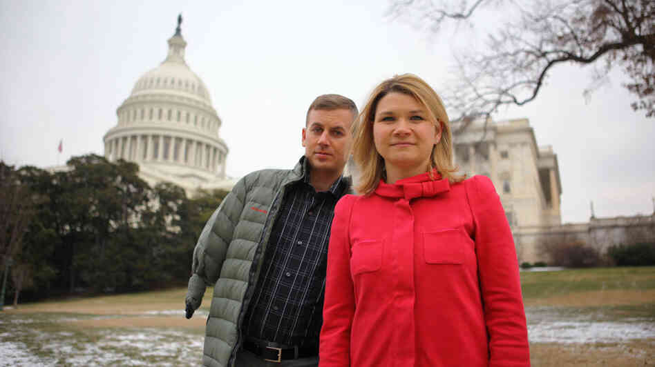 Sarah Wade, 36, and her husband, Ted Wade, 33, of Chapel Hill, N.C., often travel to Washington, D.C. for medical care and meetings. Sarah has been battling for her husband's care after he was injured while riding in a Humvee in Mahmudiyah, Iraq, on Feb. 14, 2004, and suffered a traumatic brain injury, as well as an above-the-elbow amputation of his right arm.