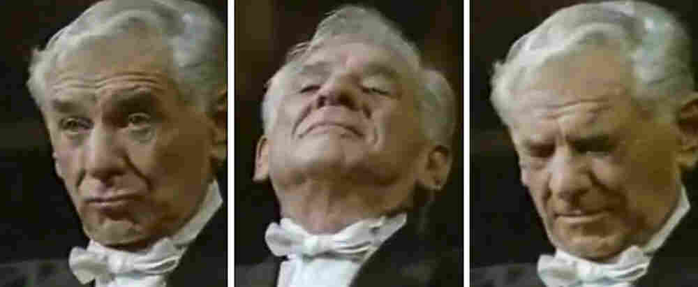 The facial expressions of Leonard Bernstein as he conducts Vienna Philharmonic.