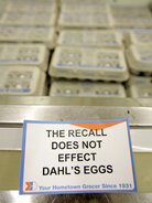 Sign by the egg case in Dahl's grocery store