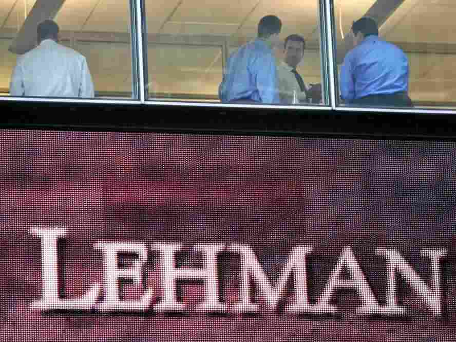 Lehman HQ, shown here on Sept. 16, 2008 -- the day after the bank filed for bankruptcy.