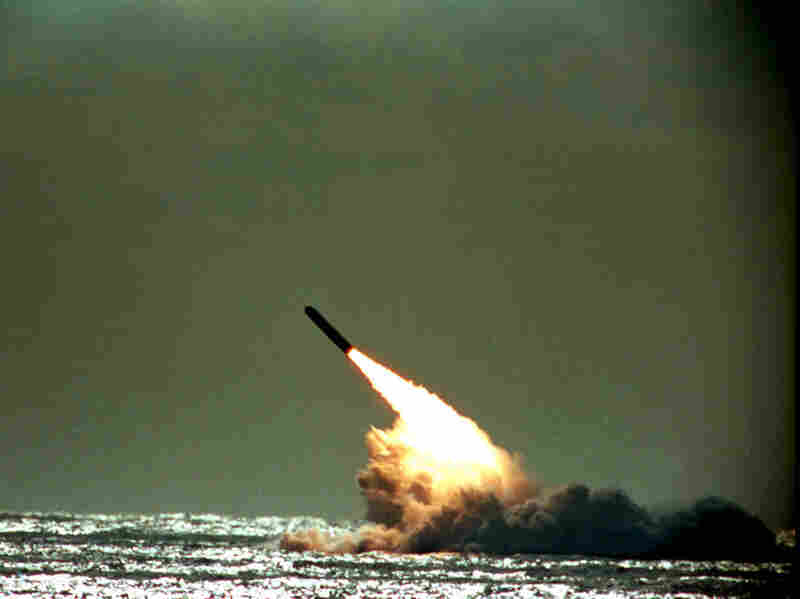 A 1989 photo shows the U.S. Navy launching a Trident II D-5 missile from a submerged submarine.