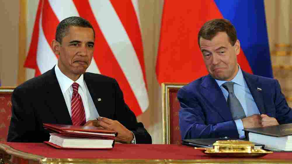 President Obama and Russian President Dmitry Medvedev sign the new Strategic Arms Reduction Treaty in Prague on April 8, 2010.