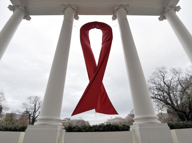 An AIDS symbol is displayed on the North Lawn of the White  House in December, 2010.