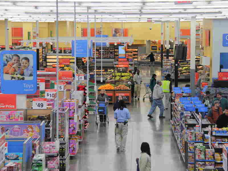 The new urban Walmart in the Alexandria section of Fairfax County, Va., sports a small floor plan with a significant grocery section. It's easy to see from one end to the other.
