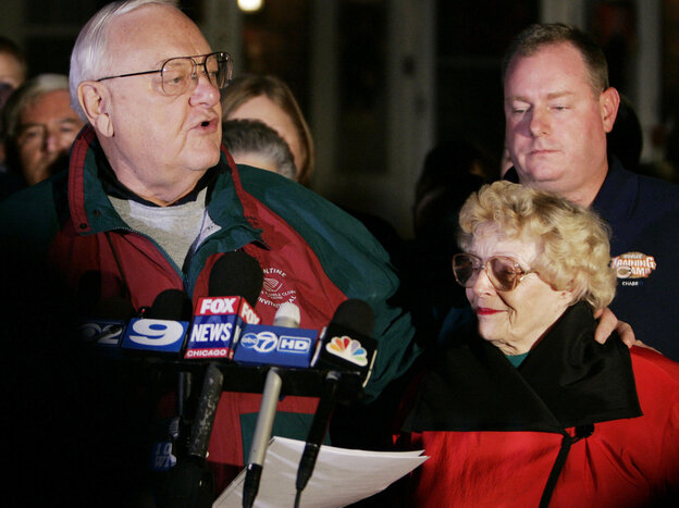 Former Illinois Gov. George Ryan, and wife, Lura Lynn Ryan, spoke to reporters in 2007 before reporting to prison.