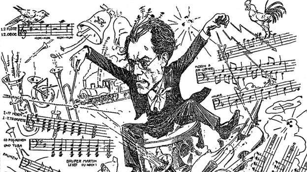 A caricature of Gustav Mahler conducting his Symphony no. 1 n from 1900. (Getty Images)