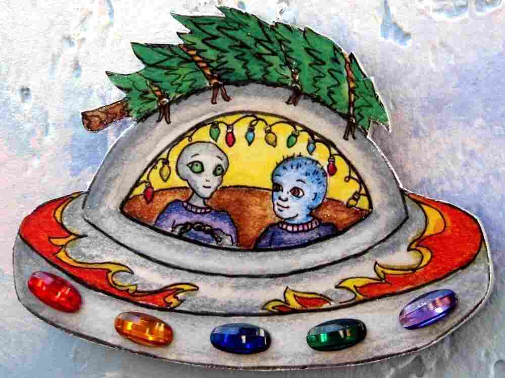 """An image of the """"Space Aliens Bring Home the Christmas Tree ornament."""""""
