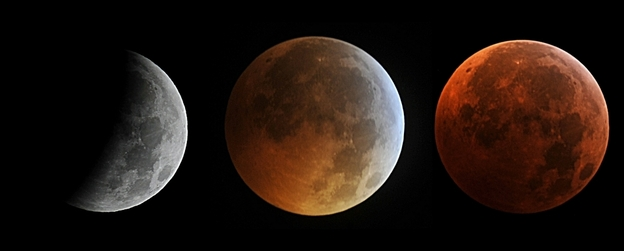 This combo of pictures taken in Manassas, Va., shows the moon in different stages of a total lunar eclipse on Dec., 21, 2010. The eclipse is also falling on the same day as the winter solstice in the Northern Hemisphere a rare occurrence that hasn't happened in 372 years.