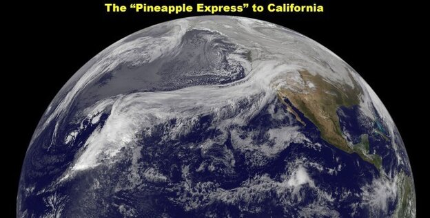 "NASA's GOES-11 satellite captured an image of the famous 'Pineapple Express"" weather pattern on Dec. 19, 2010"
