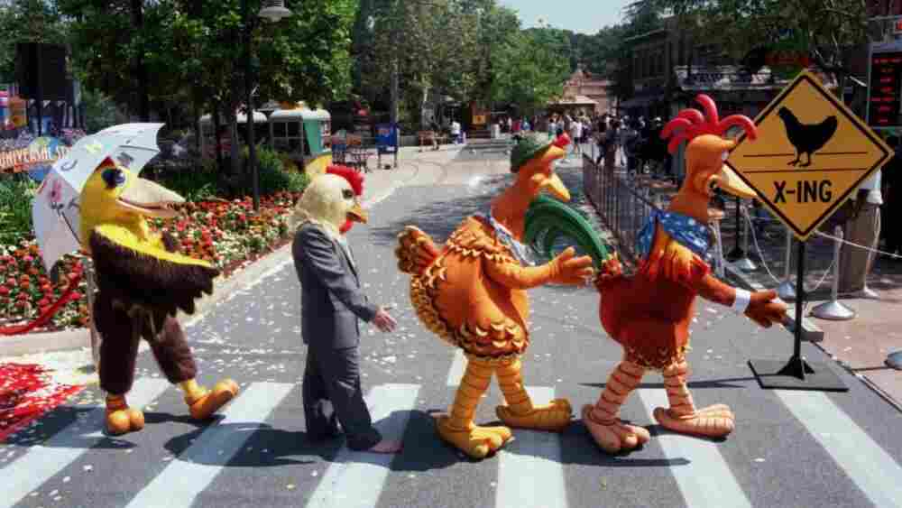 "Characters from the Universal Studios' movie ""Chicken Run"" mimic the Abbey Road crossing at Universal Studios, Calif."