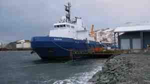 Shell's Nanuq was built especially for Shell for oil spill response  clean-up in the Arctic Ocean. It's currently docked at Dutch Harbor, Alaska, for the  winter.