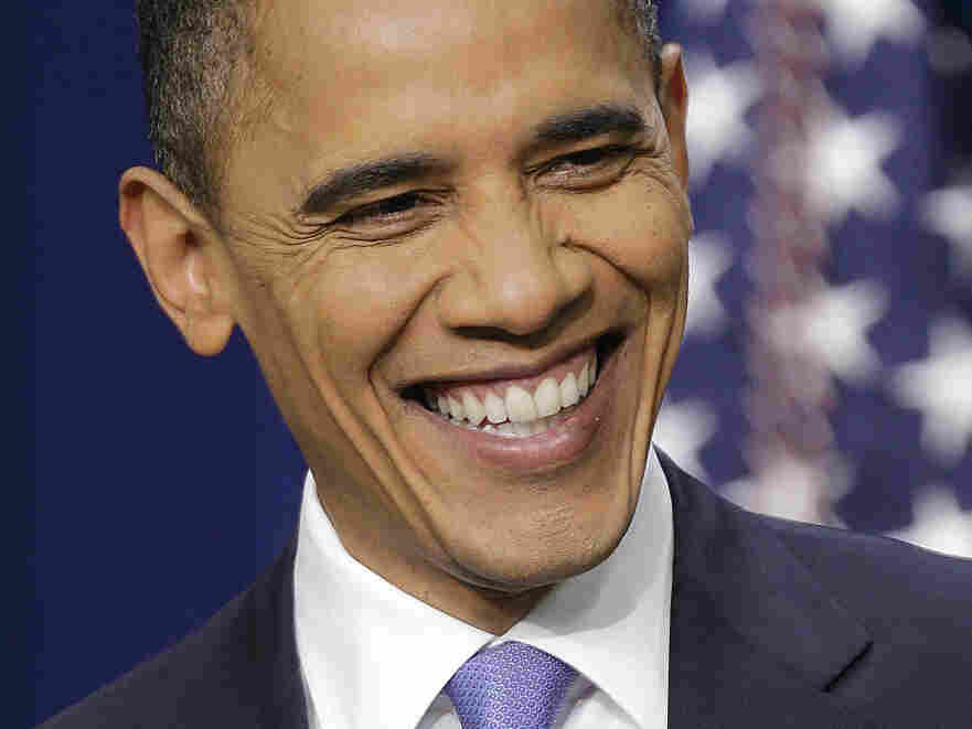 President Barack Obama laughs during a news conference on the White House complex, Wednesday, Dec. 22, 2010.