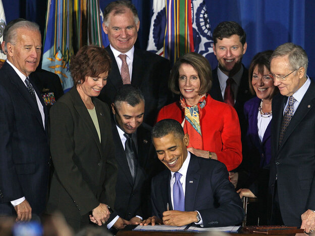 """President Obama signs the repeal of """"don't ask, don't tell,"""" Dec. 22, 2010."""