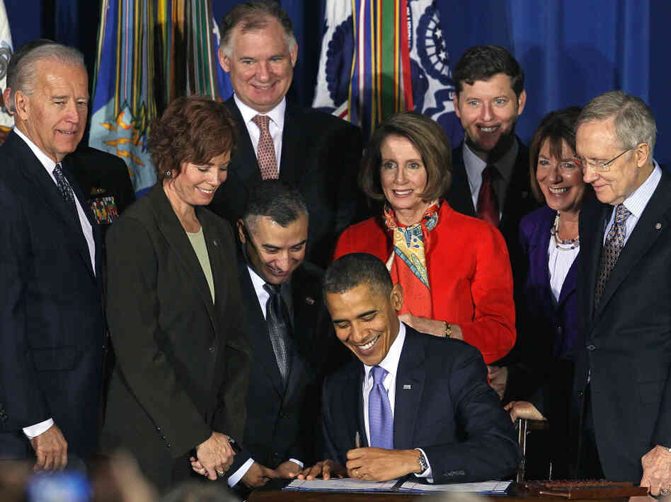"President Obama signs the repeal of ""don't ask, don't tell,"" Dec. 22, 2010."