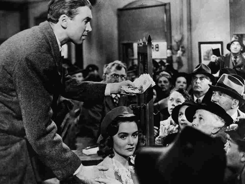 Actor Jimmy Stewart, shown with Donna Reed, in a still from the 1946 film It's A Wonderful Life, directed by Frank Capra.