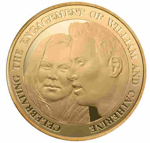 "The ""likenesses"" on the coin commemorating the engagement of Britain's Prince William and Kate Middleton"