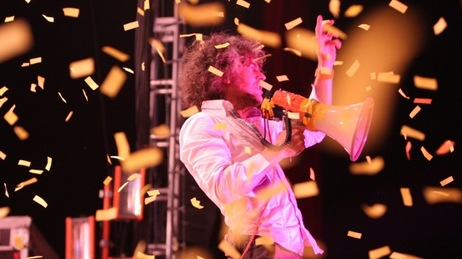 Wayne Coyne of The Flaming Lips performing live at Bonnaroo in Manchester, Tenn.
