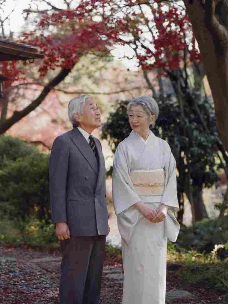 Emperor Akihito and Empress Michiko stand together in Fukiage Garden in the Imperial Palace in Tokyo.