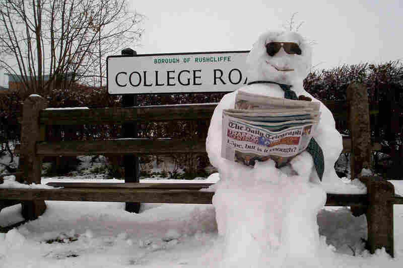 Snowmen have to wait for the bus just like the rest of us.
