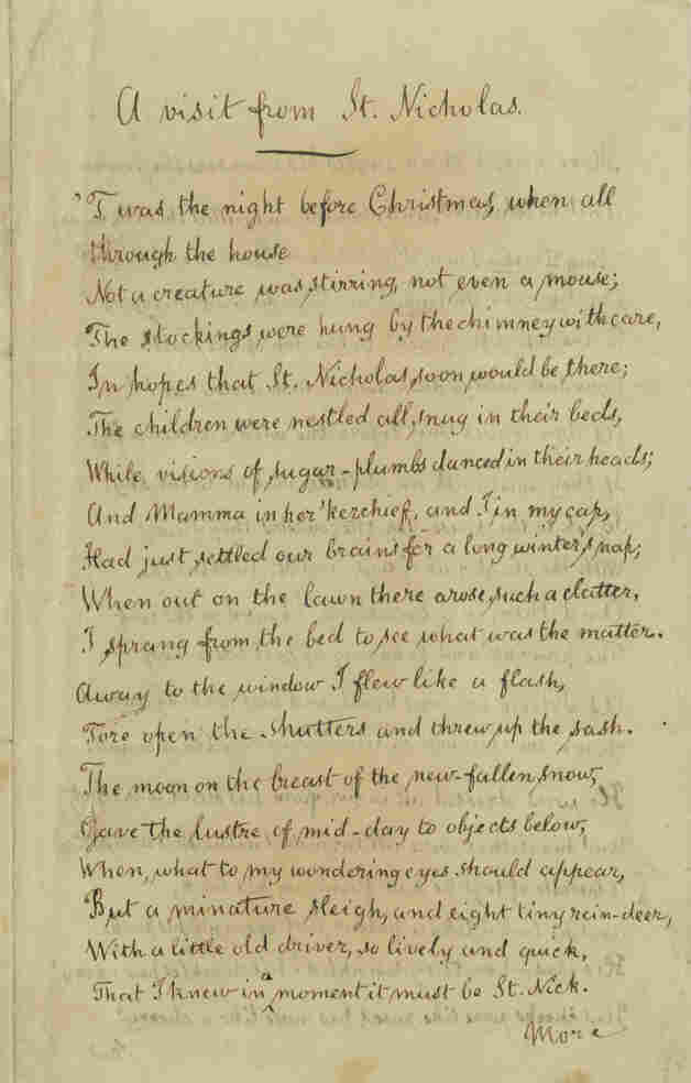 "An 1860 copy of the Clement Clarke Moore's poem ""A Visit from St. Nicholas,"" which begins: ""'Twas the the night before Christmas, when all through the house / Not a creature was stirring, not even a mouse."""