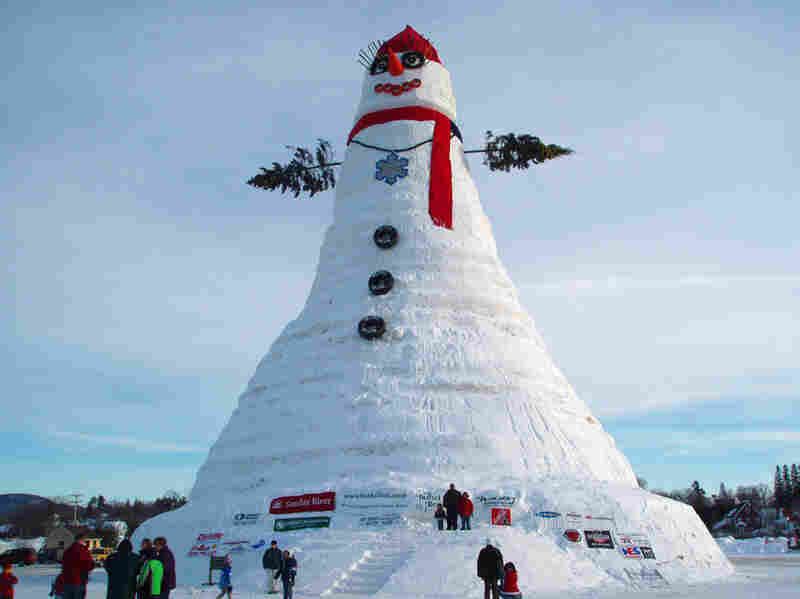 "Built in the winter of 2008, ""Olympia,"" the tallest snowman in the world, stands at 122 feet and 1 inch, in Bethel, Maine."