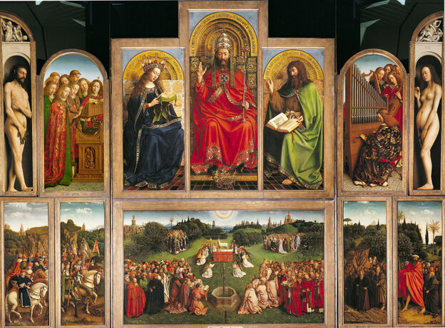 The Ghent Altarpiece by Jan van Eyck, is considered the first great painting of the Renaissance.