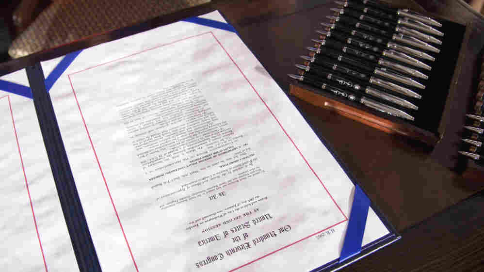 """The """"don't ask, don't tell"""" repeal legislation that would allow gays to serve openly in the military sits on a desk at the Interior Department on Dec. 22, 2010, prior to President Obama's signing it."""