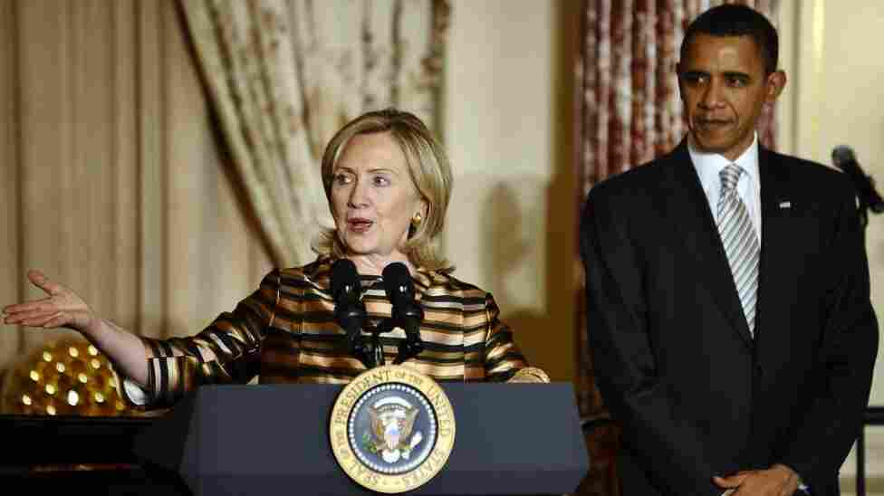 President Obama listens as Secretary of State Hillary Rodham Clinton speaks at the State Department in Washington on Dec. 13, 2010.