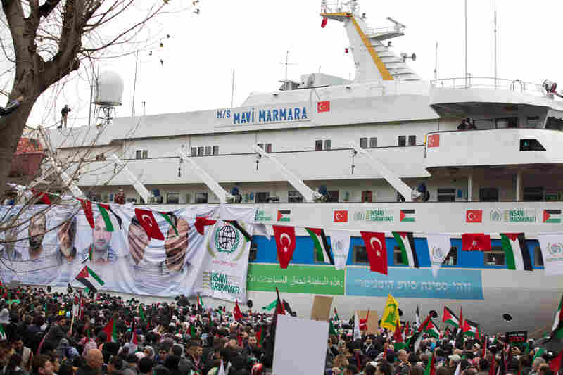 The aid vessel Mavi Marmara on Sunday returned to port in Istanbul, where it was greeted by thousands of people commemorating the nine men who were killed on the ship in May when it was boarded by Israeli commandos off the coast of Gaza. Israel says its forces fired in self-defense.