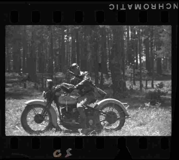 Republican soldier on a motorcycle, Navacerrada Pass, Segovia front, Spain, late May to early June 1937